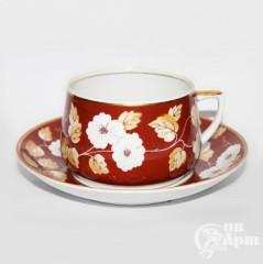 """Чашка с блюдцем """"Цветы"""" (ВСХВ)"""